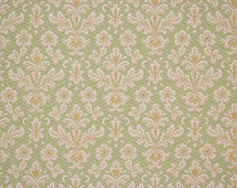 1920s Antique Vintage Wallpaper Beige and White Damask on Green by the Yard--Made in Belgium
