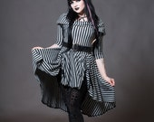 Goth Doll Striped Dress - Cowl Hooded Hi-Low Gothic Alternative Clothing - Long Sleeve Bustle Pulls - Grey Black Stripe- Custom to Order