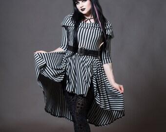 Goth Doll Striped Dress - Cowl Hooded Hi-Low Gothic Alternative Clothing - Long Sleeve Bustle Pulls - Grey Black Stripe- Custom to Order