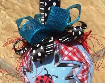 Ladybug - blue- fabric ornament ball