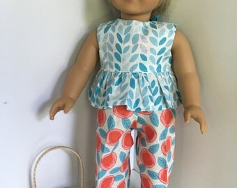 Turquoise, Pink, Salmon,and White - 18-Inch Doll 3-Piece Set