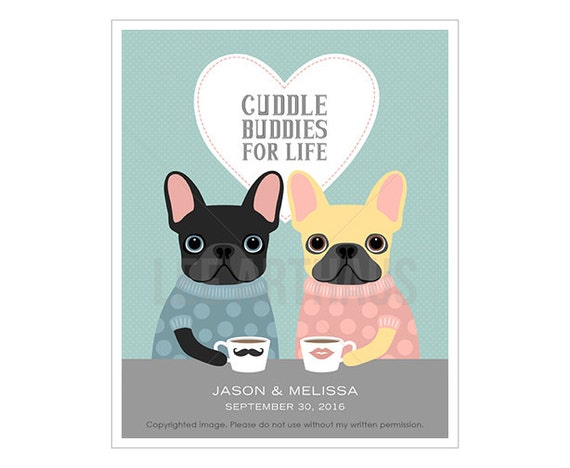 220P Personalized Wedding Gift - Cuddle Buddies for Life French Bulldog Wall Art - Custom Engagement Gift - Anniversary Gift for Couple