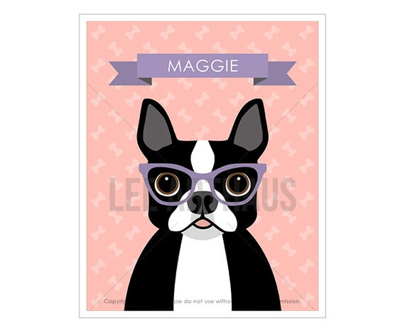 8N Dog Art Prints - Personalized Boston Terrier Wearing Glasses Wall Art - Dog Owner Gifts - Boston Terrier Prints - Funny Dog Drawing