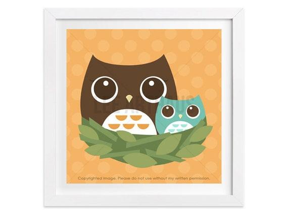 14 Owl Nursery Art - Owl Family in Nest Wall Art - Woodland Owl Nursery Print - Baby Owl Wall Art - Art for Children - Woodland Animal Art