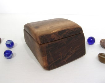 Black Walnut Wooden Box, 5th wedding anniversary, eco wedding gift, jewelry box, earring box, cuff link box, groom gift, presentation box