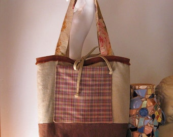 Linen Tote Bag, Shoulder Bag, Medium, Handbag, Market Bag