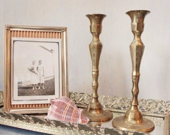 vintage brass etched candle holders - set of 2