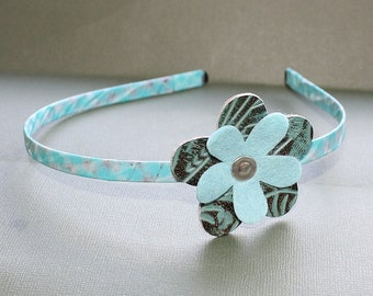 CLEARANCE - Black and Light Blue Wrapped Head Band - Washi Tape and Metal Headband - Leather and Felt Flower