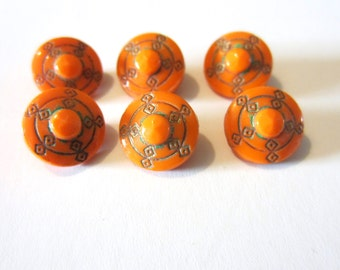 Diminutive Glass Buttons - Set of Six - Orange