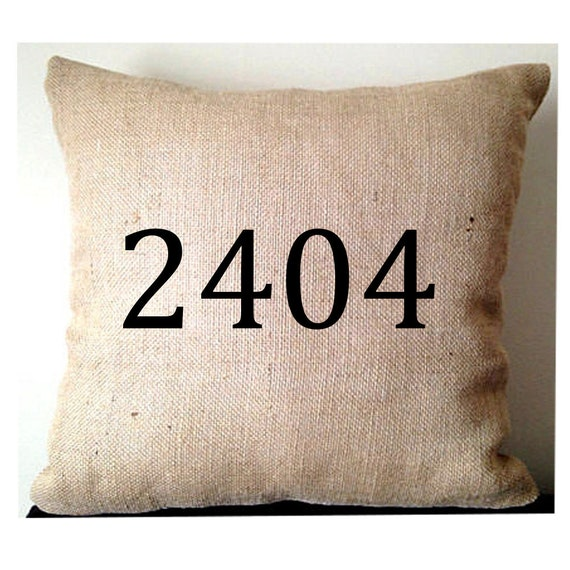 Cute Office Pillow : Burlap Pillows Cute Office Decor House Number by Snazzyliving