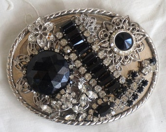 OOAK Indie Vintage Victorian Jet Rhinestone Filigree Collage Belt Buckle Black and White Stones