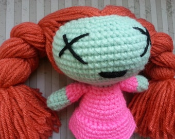 Adorable Redhead Zombie Girl Doll with Pigtails Wearing Pink Dress