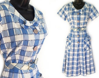 Vintage 50s Blue and White Plaid Cotton Day Dress M