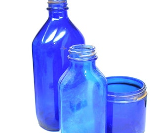 Blue glass pharmacy bottles, 3 Cobalt apothecary medicine pre-1970's, Instant Collection.