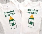 Twins St. Patrick's Day One Piece Bodysuit, Drinking Buddies, T-Shirt, Baby Gift, Baby Shower Gift, St. Patty's Day, Twin Set, Set of Two