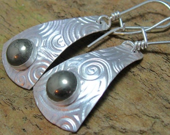 Long Sterling Dangle Earring with Pyrite Cabochon, Artisan Sterling Silver Jewelry by Liz Blanchflower