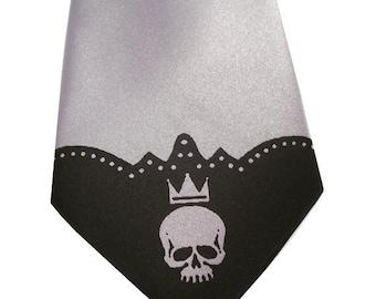 3 Mens neckties, skull print, custom colors