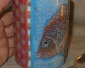 Wonderful Color and Pattern Ceramic Mug With Wise Fish
