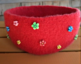 Red Wool Felt Bowl - Hand Knit Felt Bowl - Red Flower Bowl