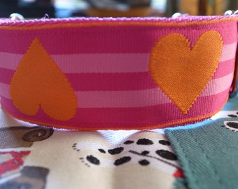 Pink & Orange Hearts and Stripes House/Martingale Collar - IG/Whippet/Lurcher/Greyhound/Any Breed