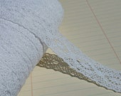 """White Cluny Lace Galloon Style - Symmetrical Insert Sewing Trim - 3/4"""" Wide"""