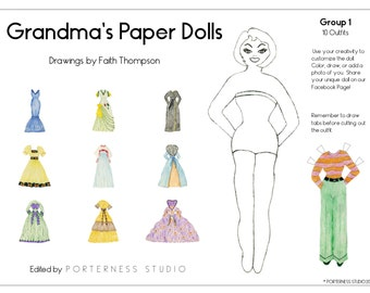Grandmas Paper Dolls -  1 Doll To Customize And 10 Beautiful Outfits Drawn By Grandma Faith - Group 1 Download Digital PDF