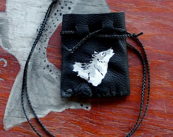 Recycled black leather necklace pouch with painted gray wolf for crystals, herbs, fetiches, medicine, and other small sacred objects