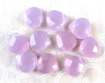 Purple Chalcedony Faceted Teardrops - 14x13x6mm - 10 beads