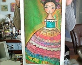 On Sale - Price already reduced  - Frida  - Large Print on Fabric (12 x 24 inches) by FLOR LARIOS
