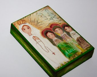 Our Lady of Fatima with Children - ACEO Giclee print mounted on Wood (2.5 x 3.5 inches) Folk Art  by FLOR LARIOS