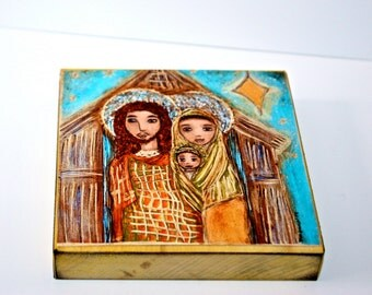 Golden Stars Nativity -   Giclee print mounted on Wood (8 x 8 inches) Folk Art  by FLOR LARIOS