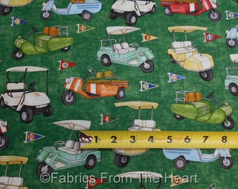Tee'd Off Golf Carts Classic & Vintage Flags on Greens BY YARDS QT Cotton Fabric