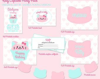 Kitty cat Cupcake Printable Party Pack