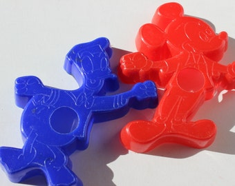 Disney Mickey Mouse Donald Duck Cookie Cutters Vintage Red and Blue Eagle Walt Disney Productions