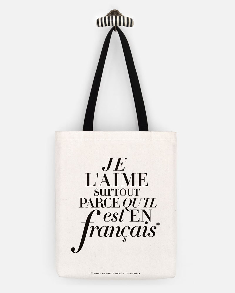 French Tote Bag, L'aime Funny Canvas Tote Bag, Fashion Girlfriend ...
