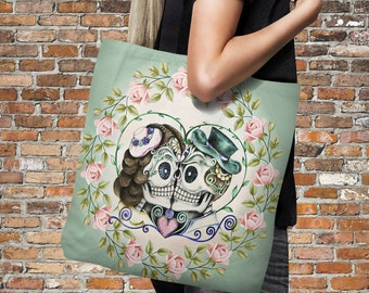 "Sugar Skull Tote Bag Over Sized 18"" x 18""  Sage Rose Romance"