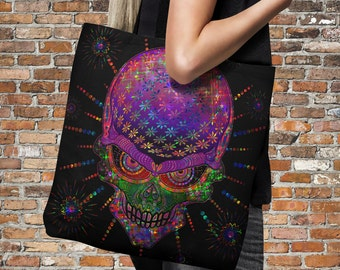 "Sugar Skull Tote Bag Over Sized 18"" x 18""  Floral Fireworks"