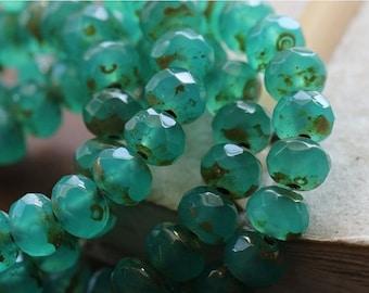 10% off DEEP OCEAN TOTS .. 10 Premium Picasso Czech Rondelle Glass Beads 5x7mm (4763-10)