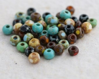 SEED BEAD MIX No. 5376 .. 50 Picasso Czech Glass Tri-Cut Seed Bead Mix Size 6/0 (5376-50)