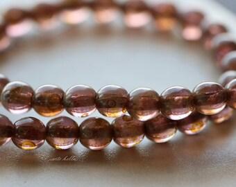 AMETHYST MARBLES 4mm .. New 45 Picasso Czech Druk Glass Beads (4915-st)