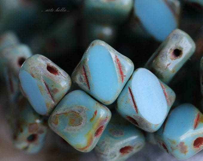 SKY SQUARES .. 25 Picasso Glass Silky Tile Beads 6mm (5066-st)