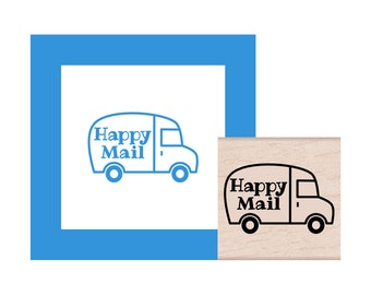 Happy Mail Truck Rubber Stamp