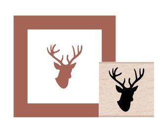 Woodland Deer Head Rubber Stamp