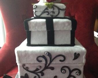 Faux Fake Wedding Cake Box/ Bridal Shower Centerpiece. Each layer opens! Square, black & white, velvet ribbon, red flowers, vintage