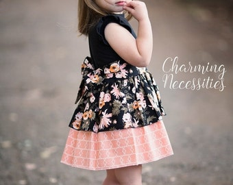 SALE Toddler Girl Clothes, Girls Dress, Party Dress, Darling Damsel Black by Charming Necessities Toddler Girl Boutique Clothes
