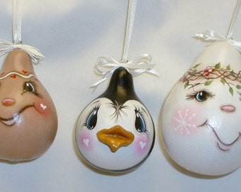 Gourd Tree Ornaments Hand Painted Gingerbread Man, Snowman and Penguin