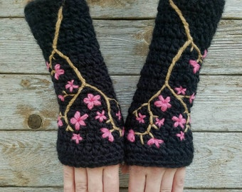 Fingerless Gloves with Embroidered Cherry Blossom, Wool Armwarmers, fingerless gloves, Womens Arm Warmers, Sakura, Black, Pink MADE TO ORDER