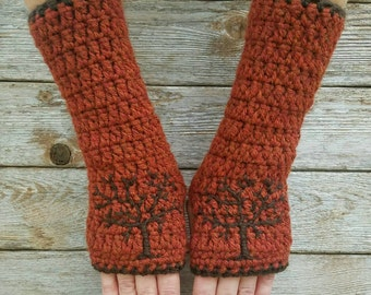 Fingerless Gloves with Tree of Life Design, Tree Of Life Armwarmers, Wool Gloves, Rust Red, Brown, Fall, fingerless gloves MADE TO ORDER