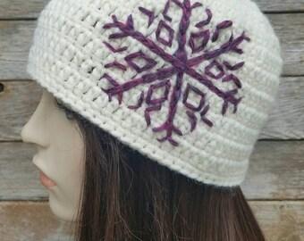 Women's Wool Beanie, Snowflake Hat, Women's Winter Hat, Cream, Fuschia, Purple, Pink, Boho Hat, Bohemian Hat, Women's Beanie, MADE TO ORDER
