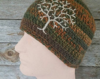 Guys Beanie with Tree of Life, Tree Beanie, Mens Hat, Guys Hat, Tree Hat, Womens Hat, Hippie Hat, Brown, Green, Orange, Tan, MADE TO ORDER